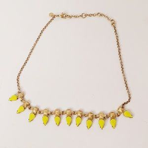 J Crew Statement Necklace Yellow/ Goldtone 20""